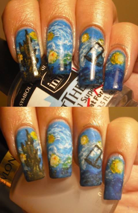 Starry Night TARDIS nails