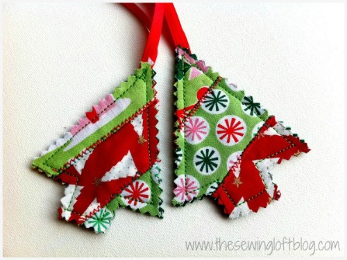 Quilted Christmas Tree Ornaments