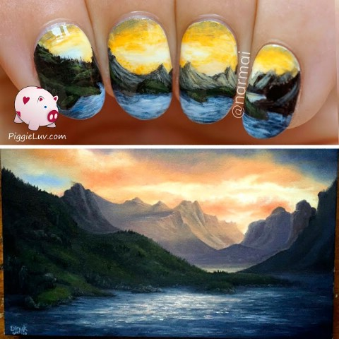 Detailed landscape nail art