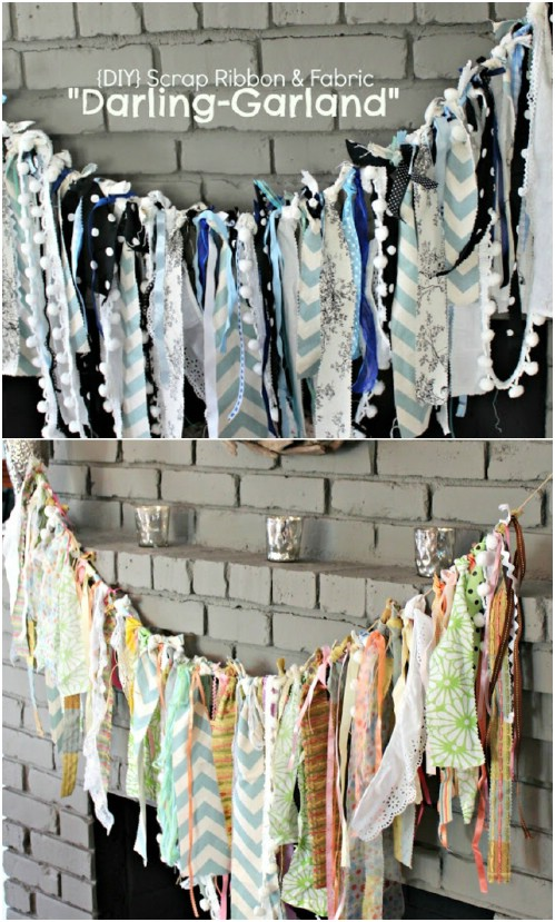 Ribbon and Fabric Garland