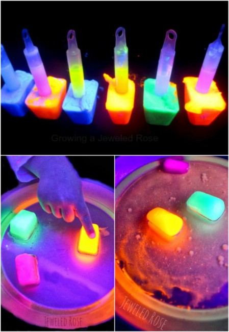 Play with glowing ice and oil.