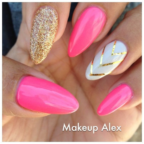 Bold pink stiletto nails