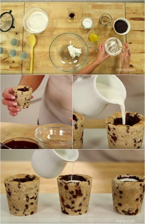 Milk And Cookies? How About Vanilla Milk In Cookie Cups?
