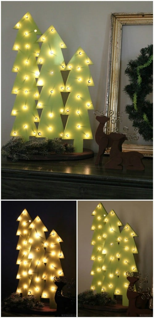 Wooden Tree with Lights
