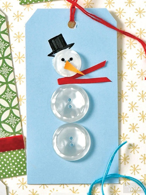 Button Snowman Tags