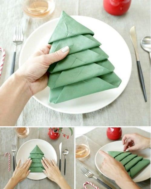 How To Fold Napkin Into Christmas Tree.Amazing Folding Technique Turns Your Napkins Into Christmas