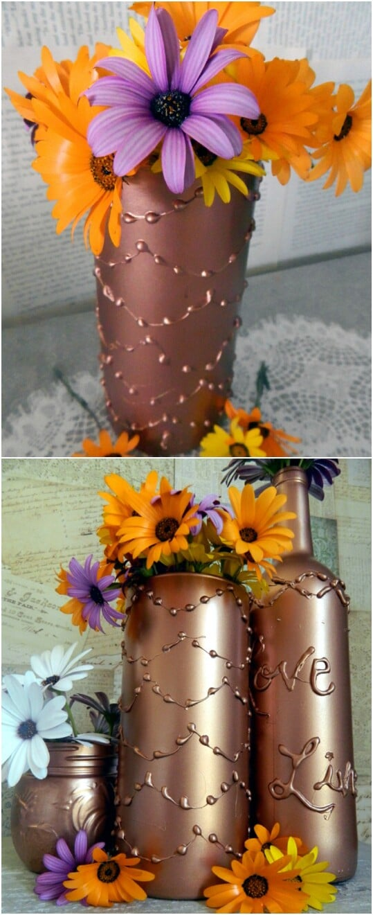 Decorate a vase using hot glue.