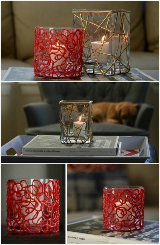 16. Make Pretty Votive Candleholders