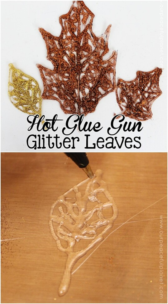 Make Beautifully Sparkly Fall Leaf Decorations Out Of Hot Glue