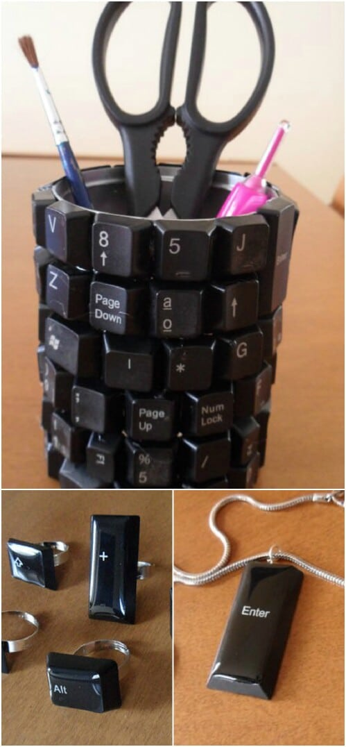 Upcycled Keyboard Wrapped Around a Tin Can: Accessory Cup
