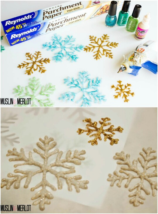 3. Make glue gun snowflakes.