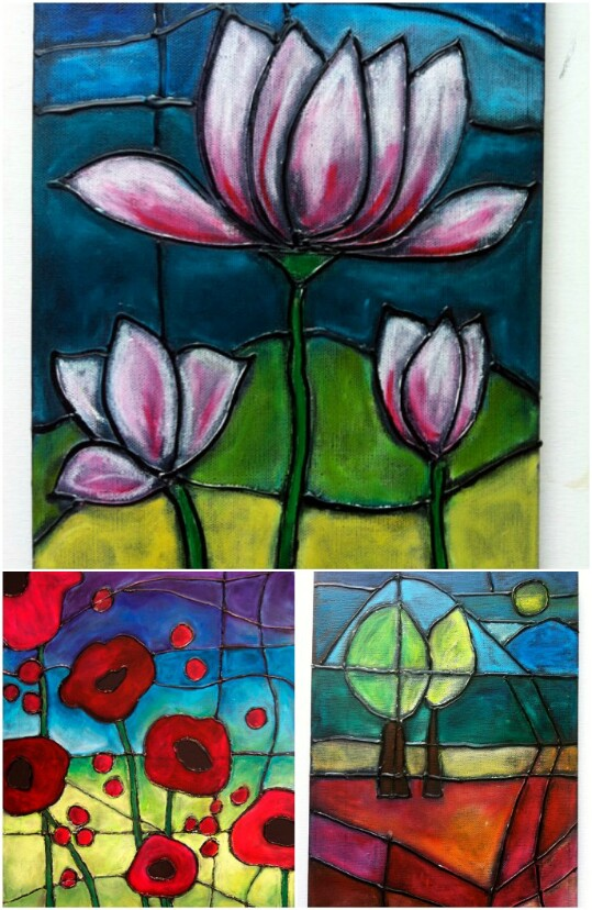 "32. Mixed Media ""Stained Glass"""