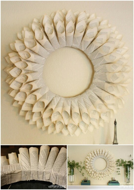 "36. Create a ""Wreath"" Out of Old Book Pages"