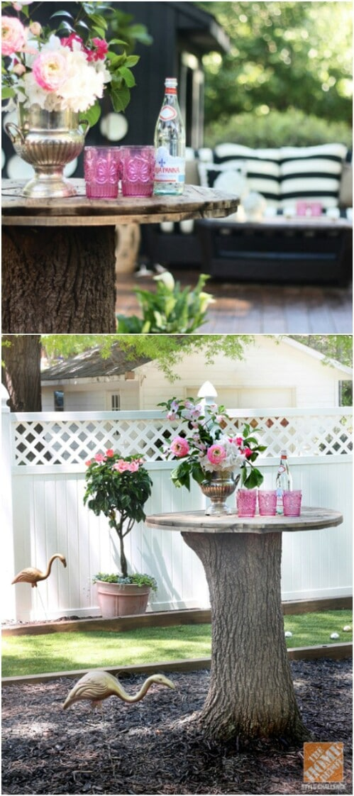 Tree Stump Serving Table