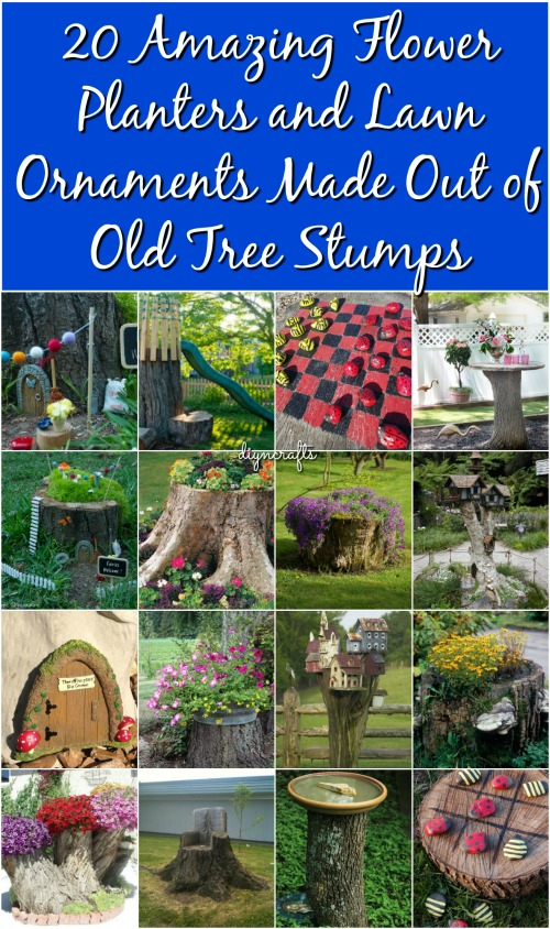 20 Amazing Flower Planters And Lawn Ornaments Made Out Of Old Tree Stumps  {Round