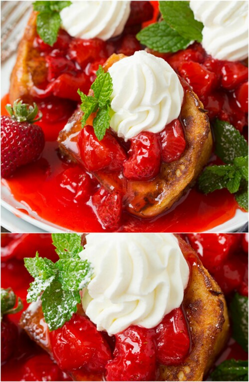 Angel Food Cake French Toast with Strawberry Syrup