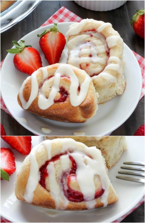 Strawberry Rolls with Vanilla Glazing