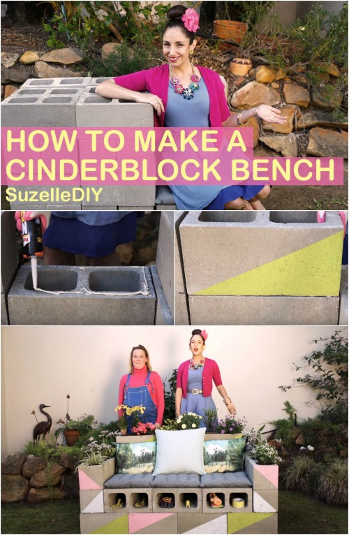 How to Build a Beautiful Multifunctional Bench out of Cinderblocks
