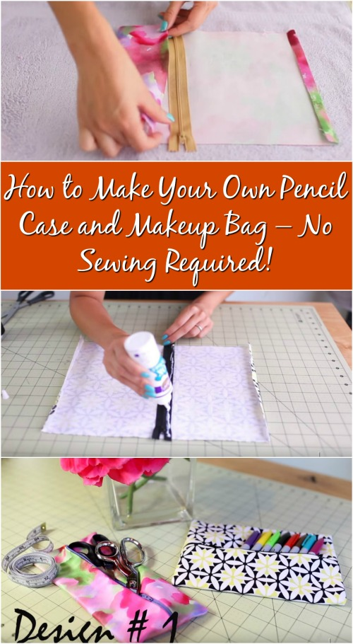 How to Make Your Own Pencil Case and Makeup Bag – No Sewing Required!