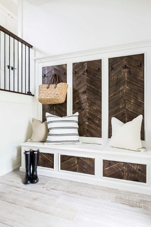 Chevron Pattern Mudroom Bench