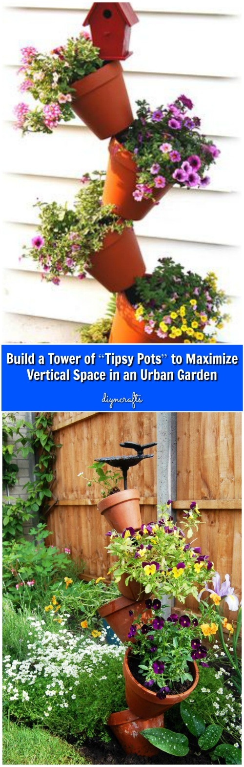 "Build a Tower of ""Tipsy Pots"" to Maximize Vertical Space in an Urban Garden {Video}"