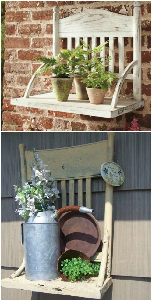 9. Make A Rustic Garden Shelf