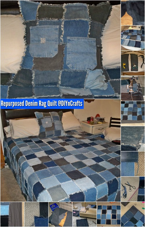 Brilliant Upcycling Project: How to Make a Repurposed Denim Rag Quilt {Easy Project}