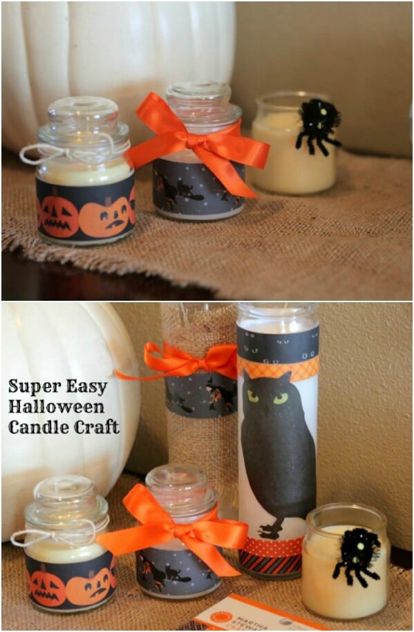 Easy Halloween Craft Candles