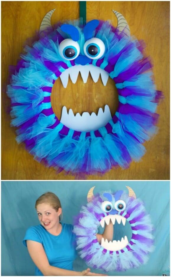 18. Cute Fluffy Monster Wreath