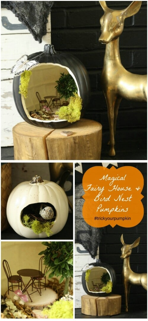 28. Fairy and Birdhouse Pumpkins