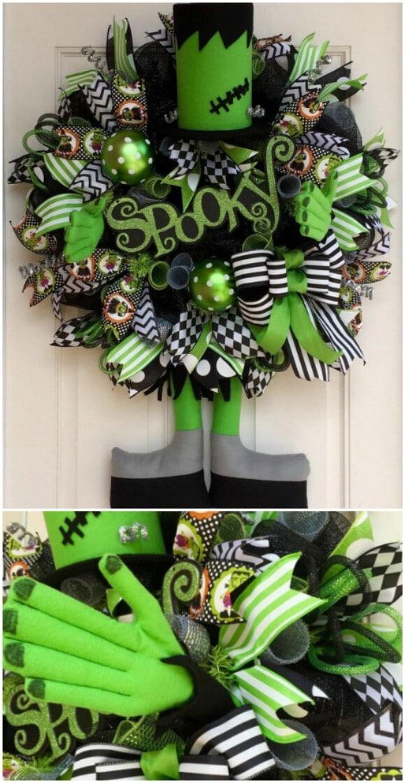 29. Frankenstein's Monster Deco Mesh Wreath