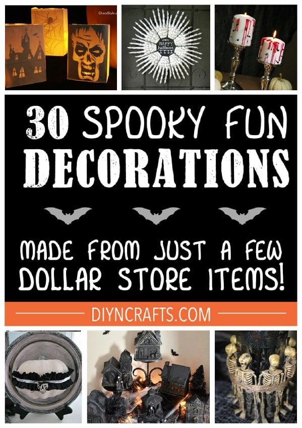 Halloween dollar store crafts collage photo.
