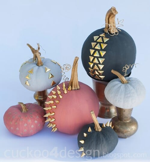50. Studded Chalk Paint Pumpkins