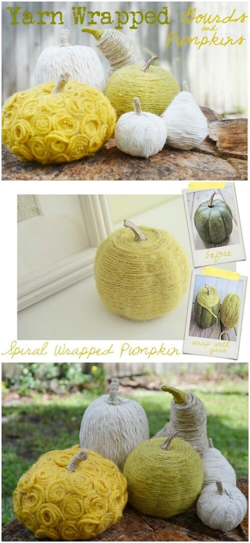 43. Yarn-Wrapped Pumpkins