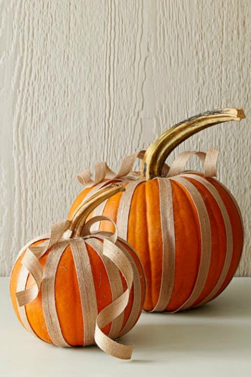 44. Burlap Ribbon Pumpkins