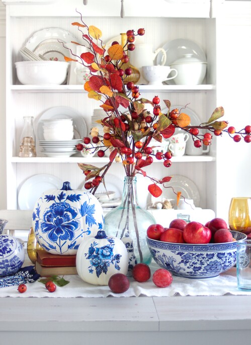 69. Blue and White Porcelain Pumpkins