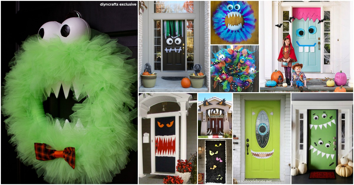 30 Monster Doors and Monster Wreaths to Greet Trick-or-Treaters This Halloween