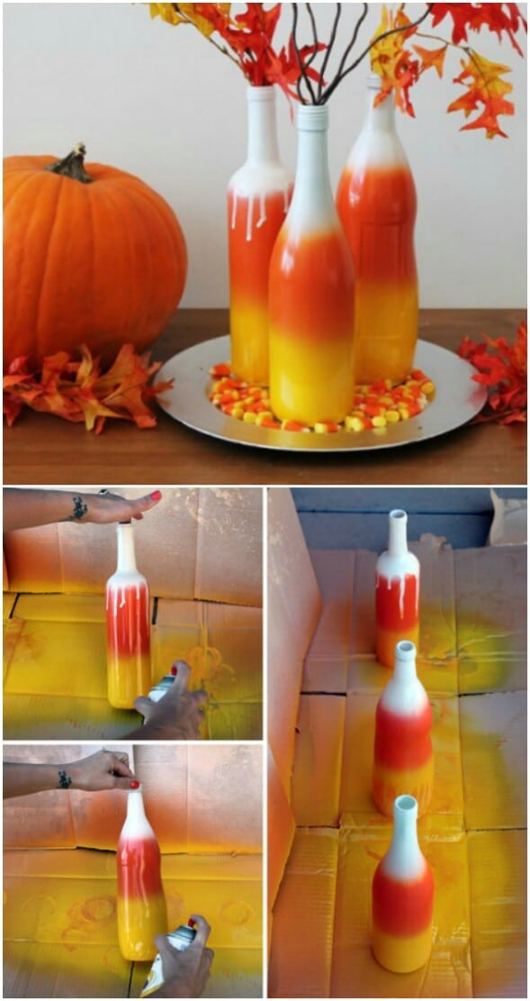 Fall Colored Wine Bottles