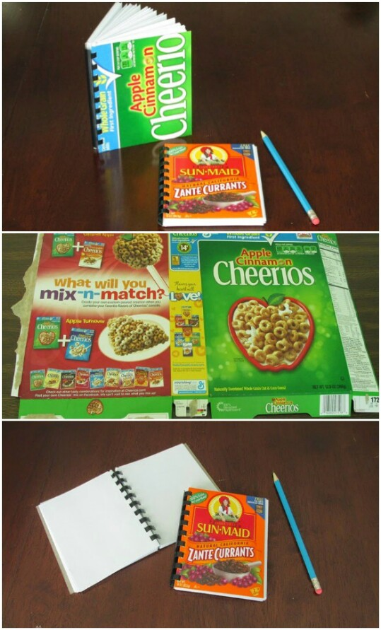 Create useful notebooks with fun cereal box covers.