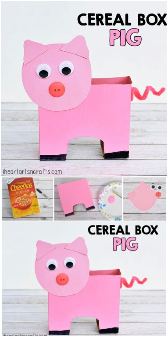 12. Make a cute cereal box pig.