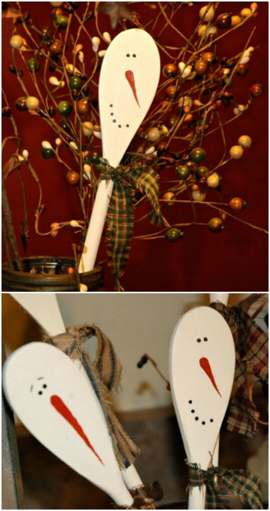 Wooden Snowman Spoons