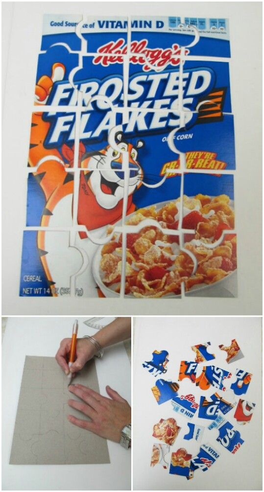 Make a simple puzzle out of a cereal box.
