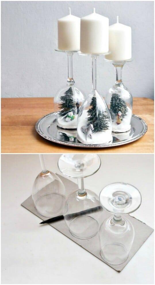 Wine Glass Holiday Diorama