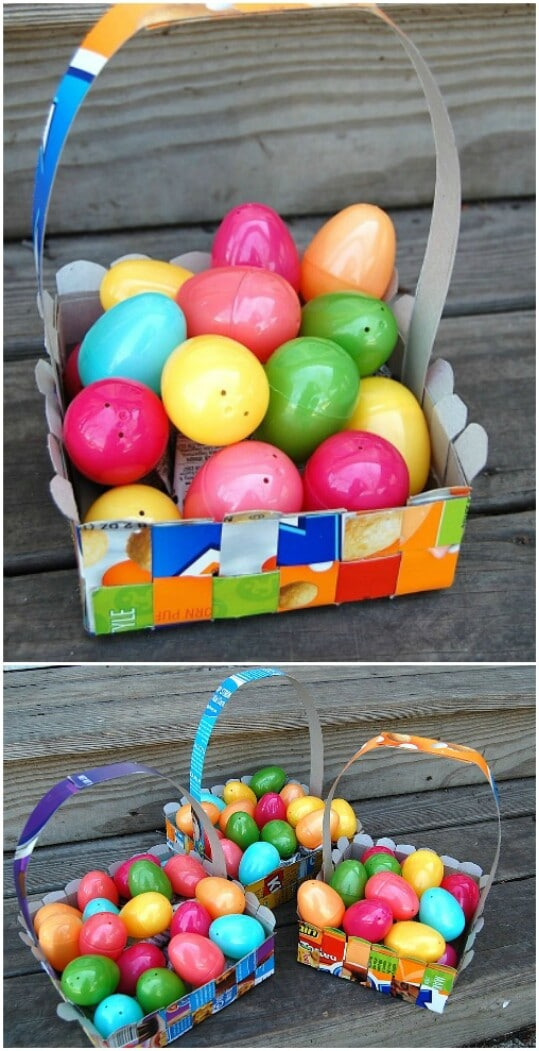 Weave cereal boxes into Easter egg baskets.