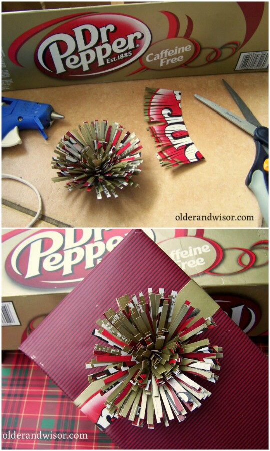 Top your presents with upcycled cereal boxes.