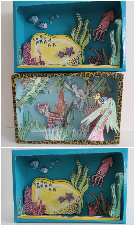 Build a shadow box for a child's artwork.