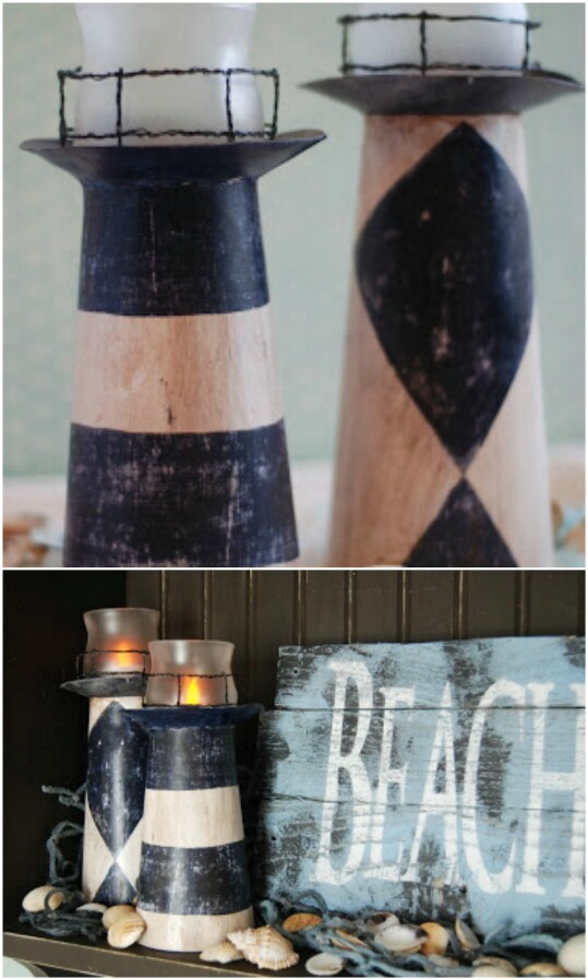45. Make a charming lighthouse candle holder.