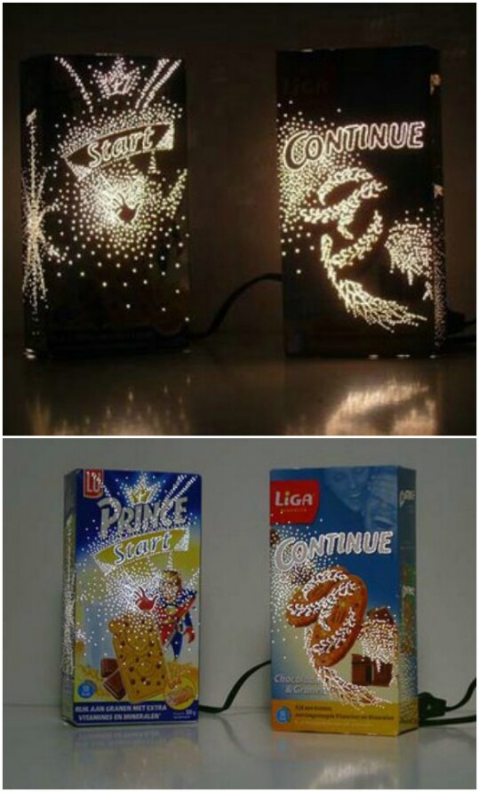 Create a nightlight out of a cereal box.