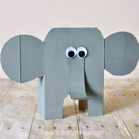 Make an easy elephant craft with your kids.