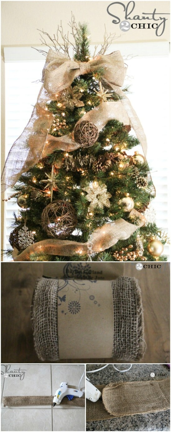 Easy Burlap Tree Topper